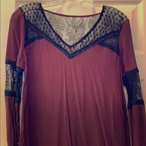 Maroon and black lace tunic/dress